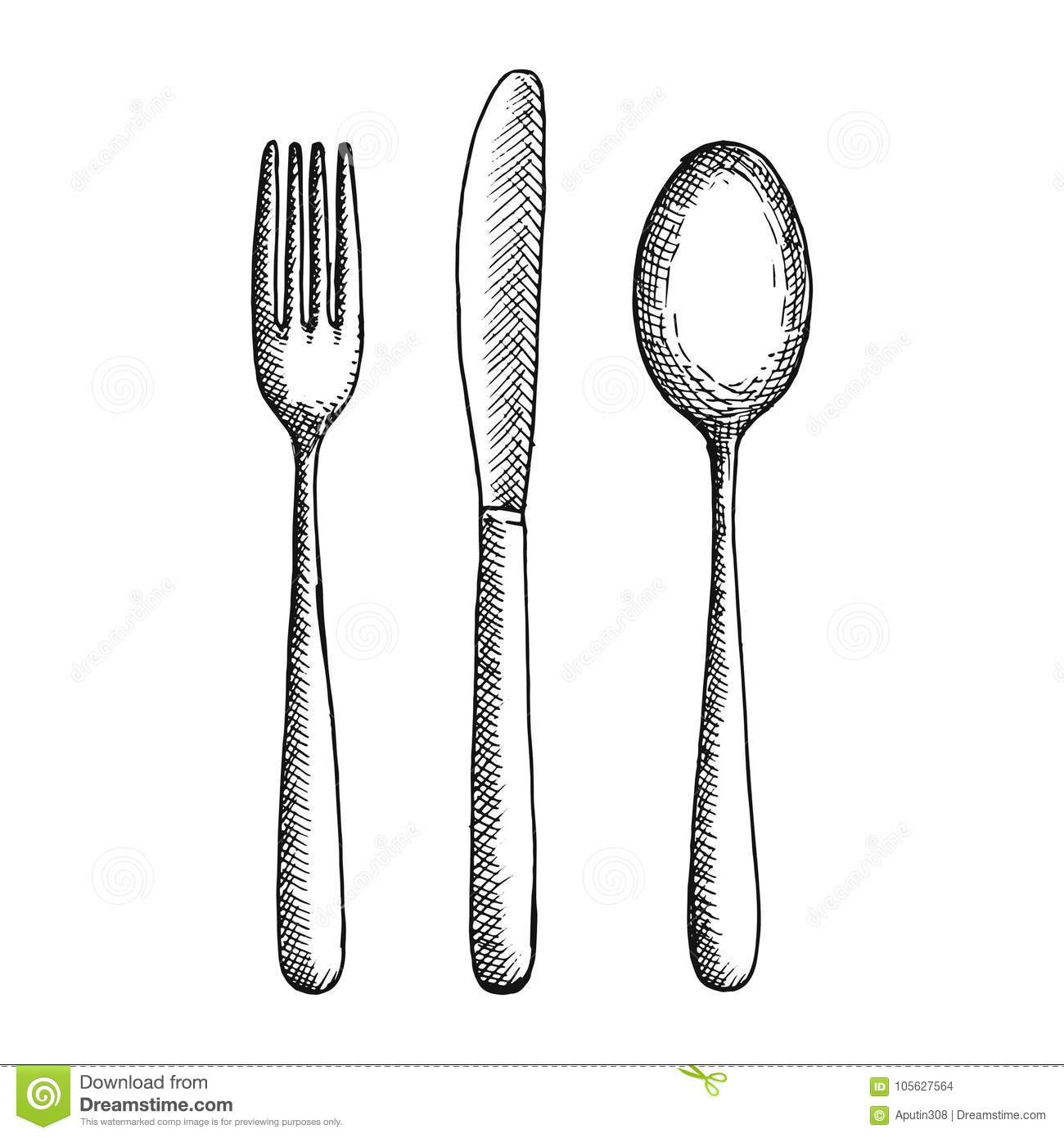 Fork Knife And Spoon Cutlery Vector Sketch Hand Drawing