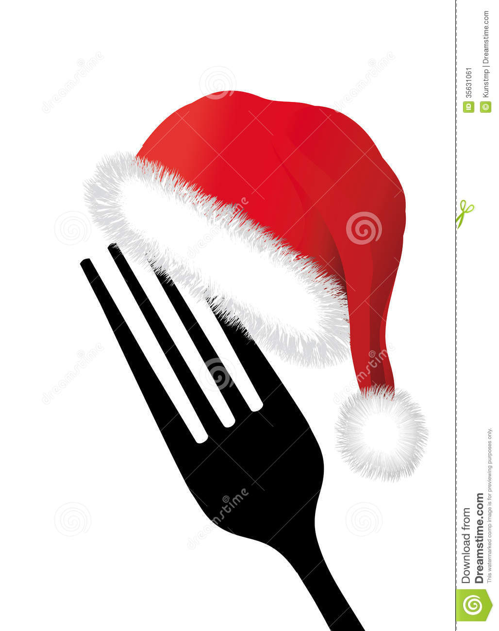Fork With Santa Hat Stock Image  Image 35631061