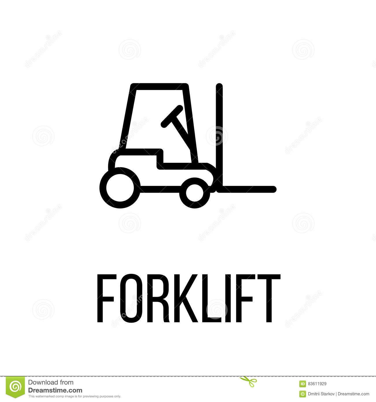 Forklift Icon Or Logo In Modern Line Style Stock Vector
