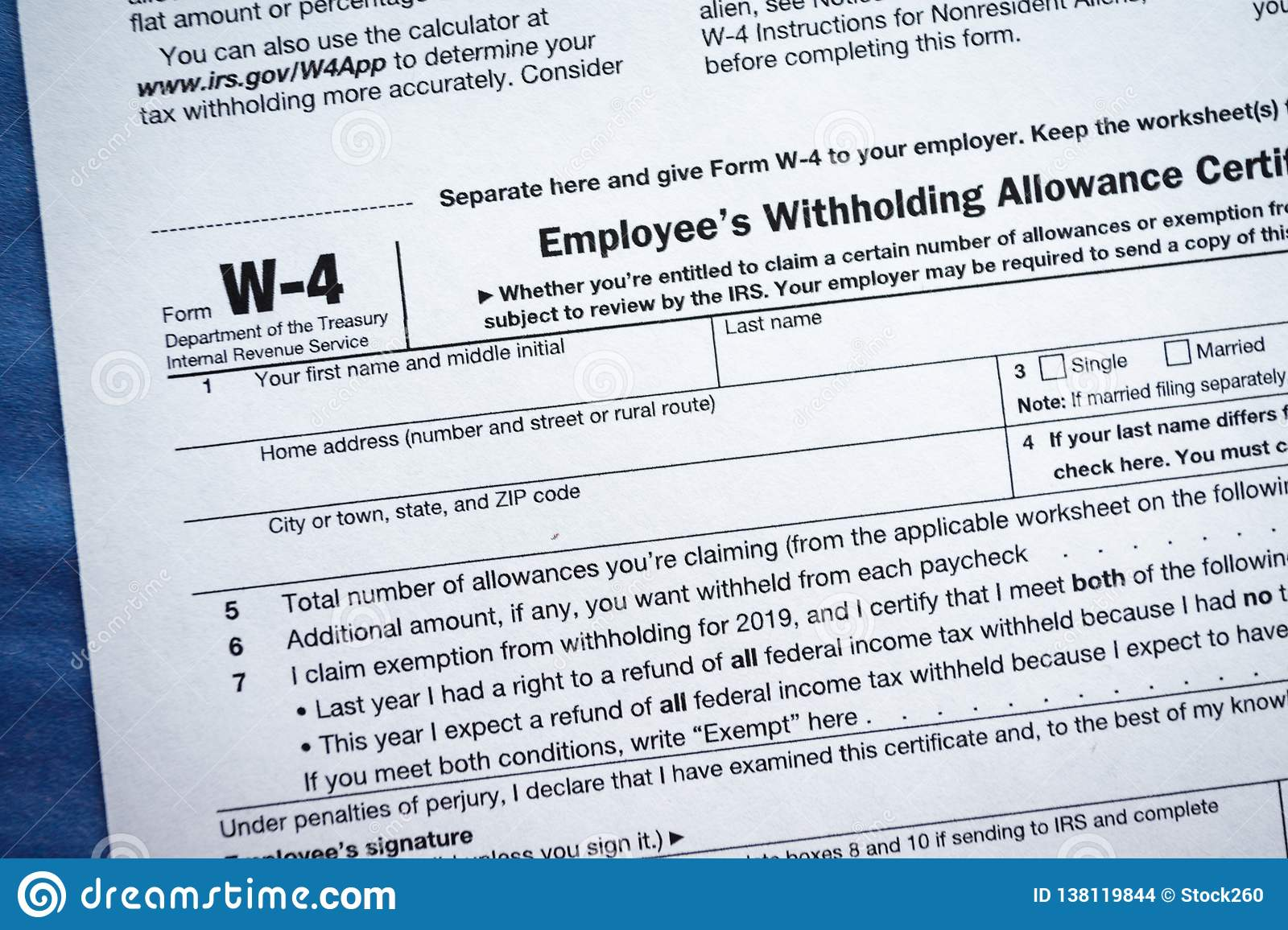 Form W 4 Employee S Withholding Allowance Certificate