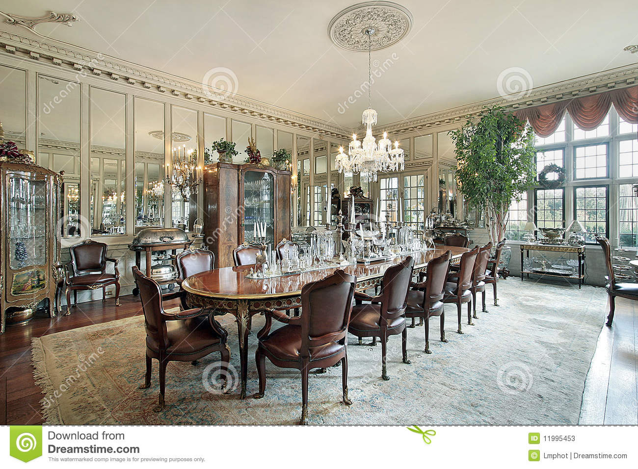 Formal Dining Room With Wall Mirrors Stock Photos  Image