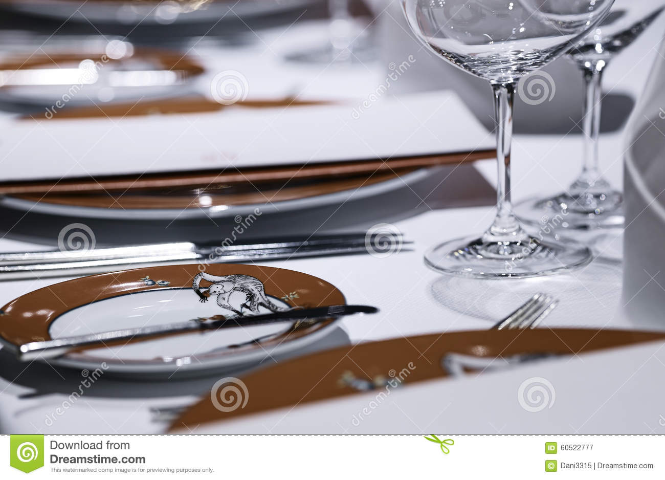 Formal Dining Table Set Up Royalty-Free Stock Image