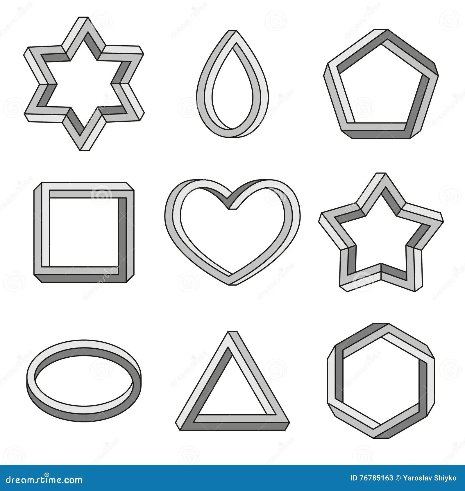 Forme Geometriche Impossibili Fissate Linea Arte