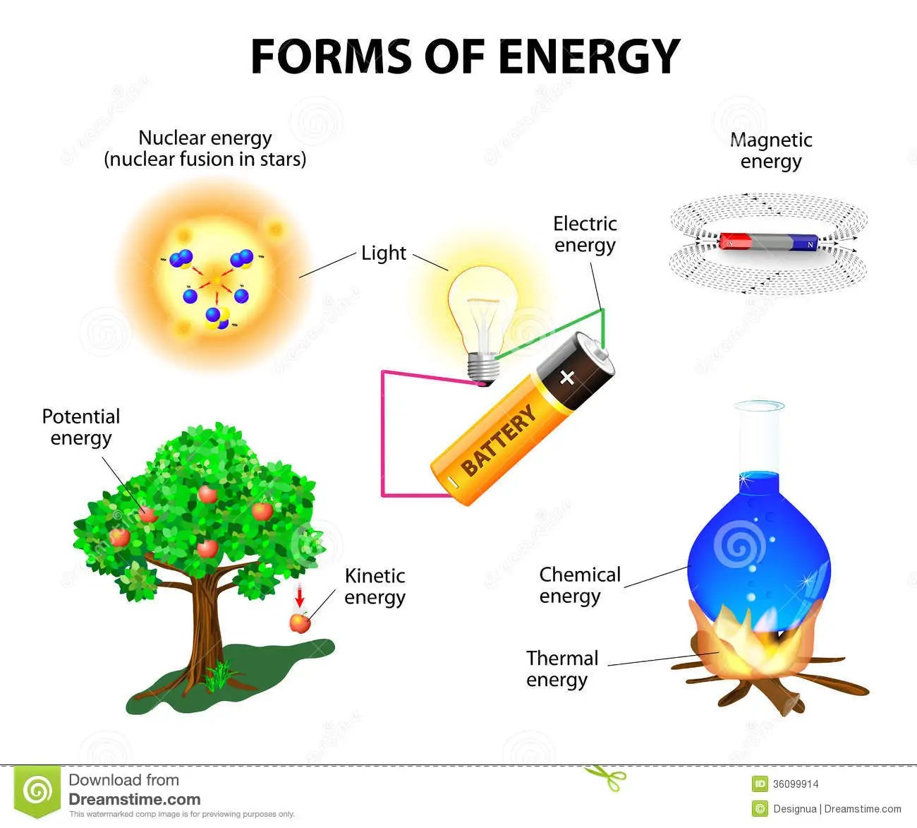 hight resolution of forms of energy kinetic potential mechanical chemical electric magnetic light nuclear and thermal energy conservation of energy