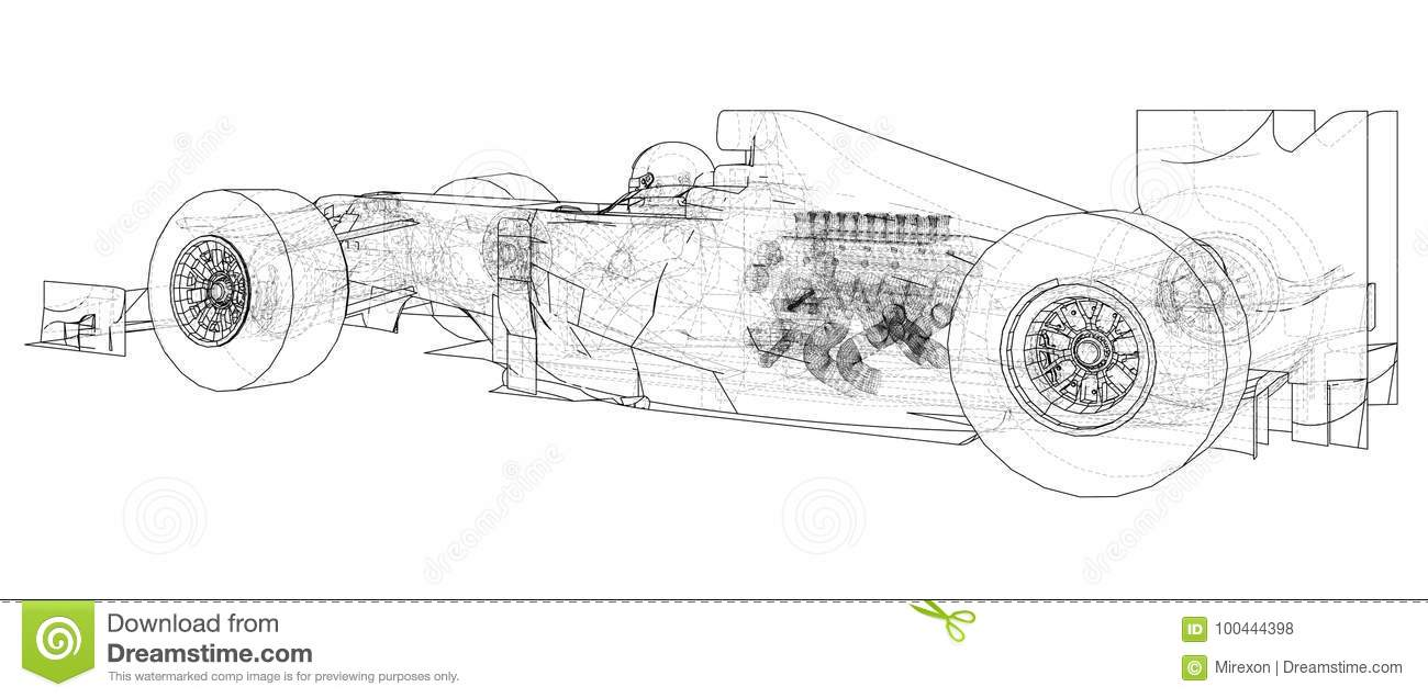 Formula 1. Abstract Drawing. Wire-frame. EPS10 Format