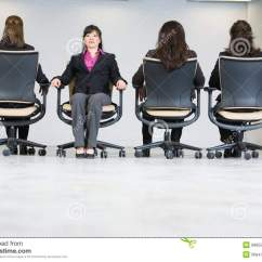 Office Sitting Chairs Blames High Chair Tray Four Business Women In Stock Photo