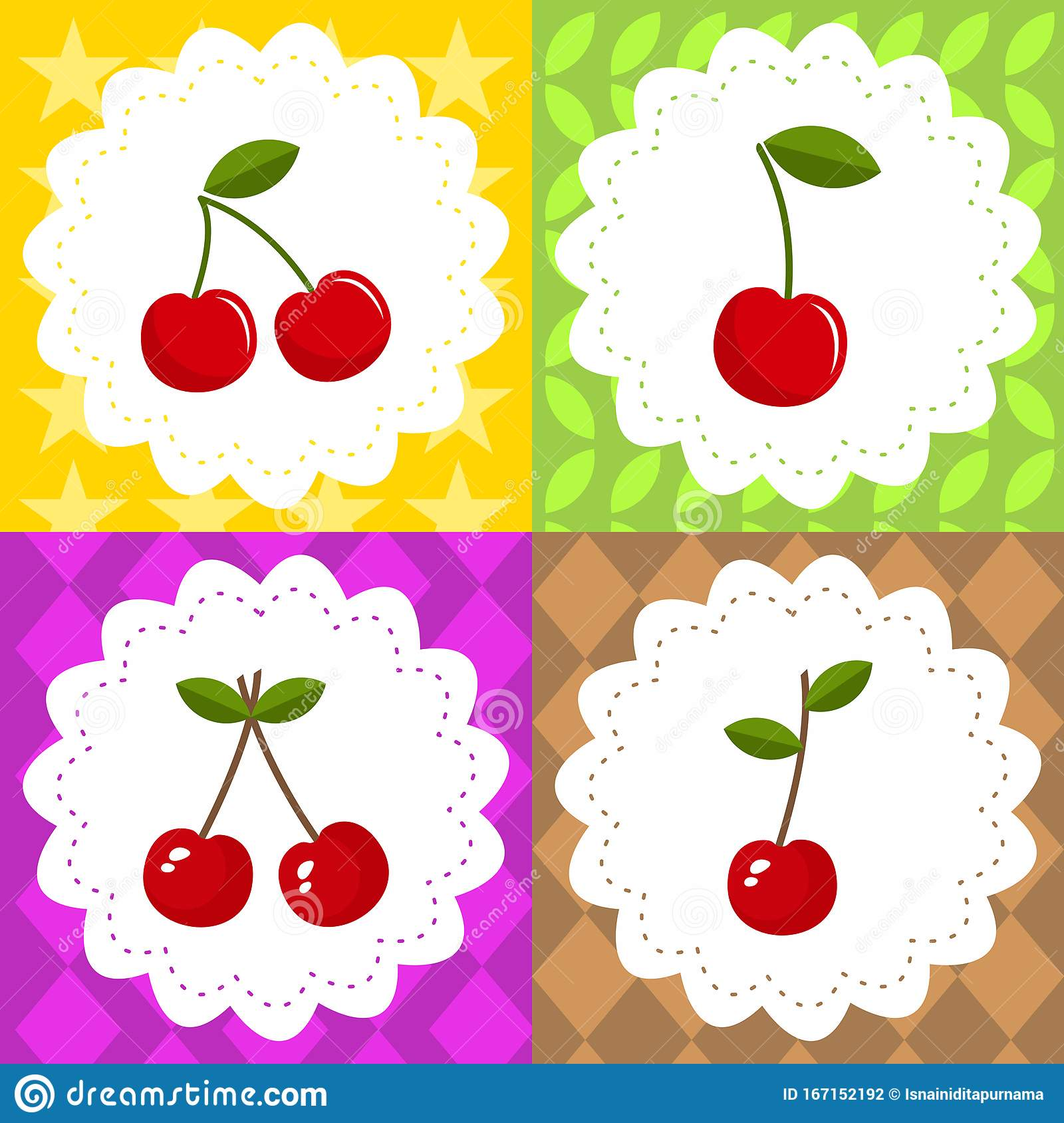 Four Cherry Fruits Coloring Colorful For Childreen Vector