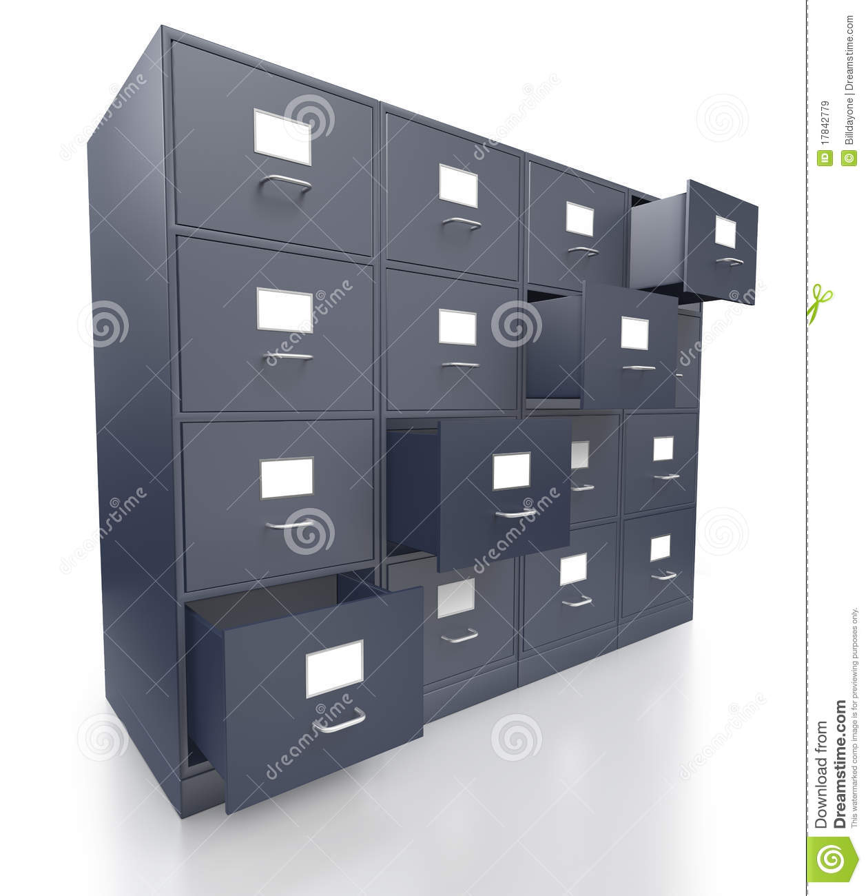 Four Grey Office Filing Cabinets With Open Drawers Stock