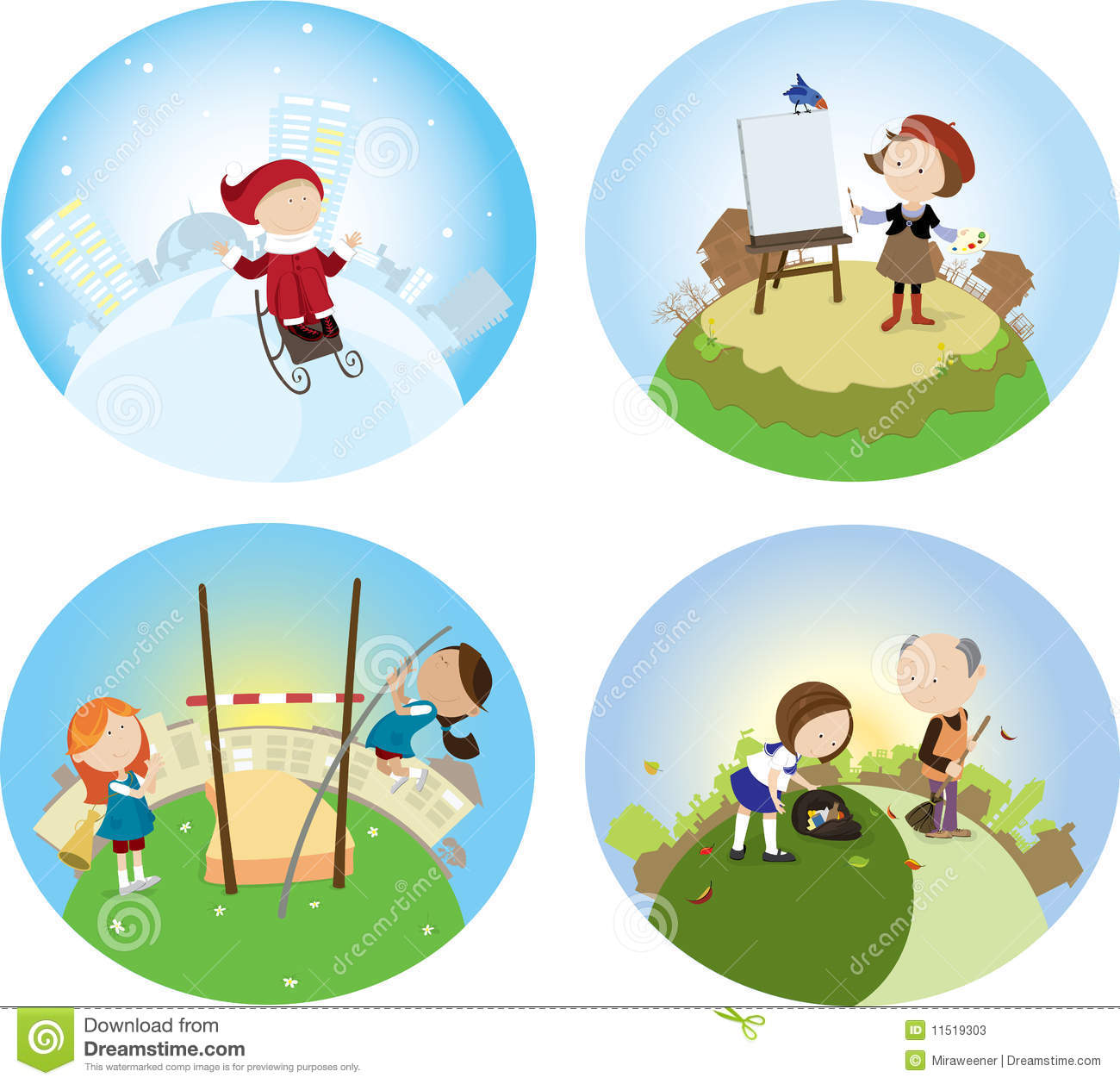 Four Seasons Stock Vector Image Of Painting Painter