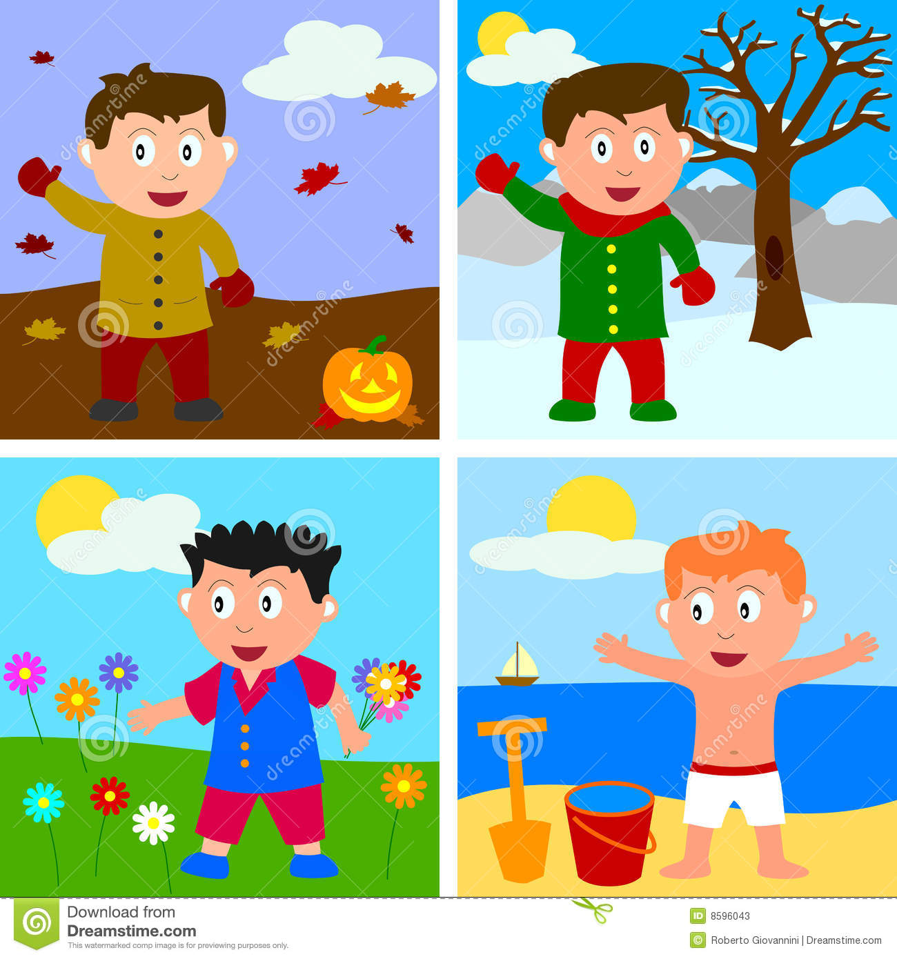 Four Seasons Boys Stock Vector Illustration Of Graphic