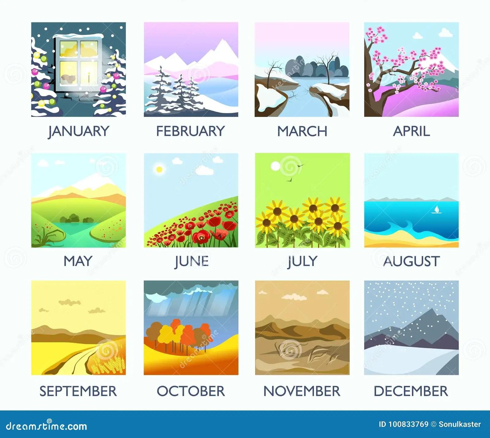 Four Seasons Month Nature Landscape Winter Summer Autumn