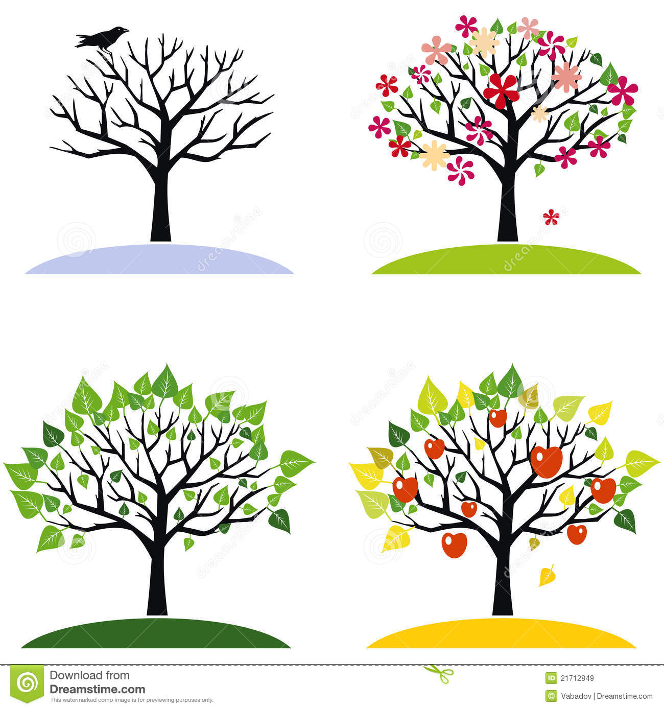 Four Season Tree Craft Printable Worksheet