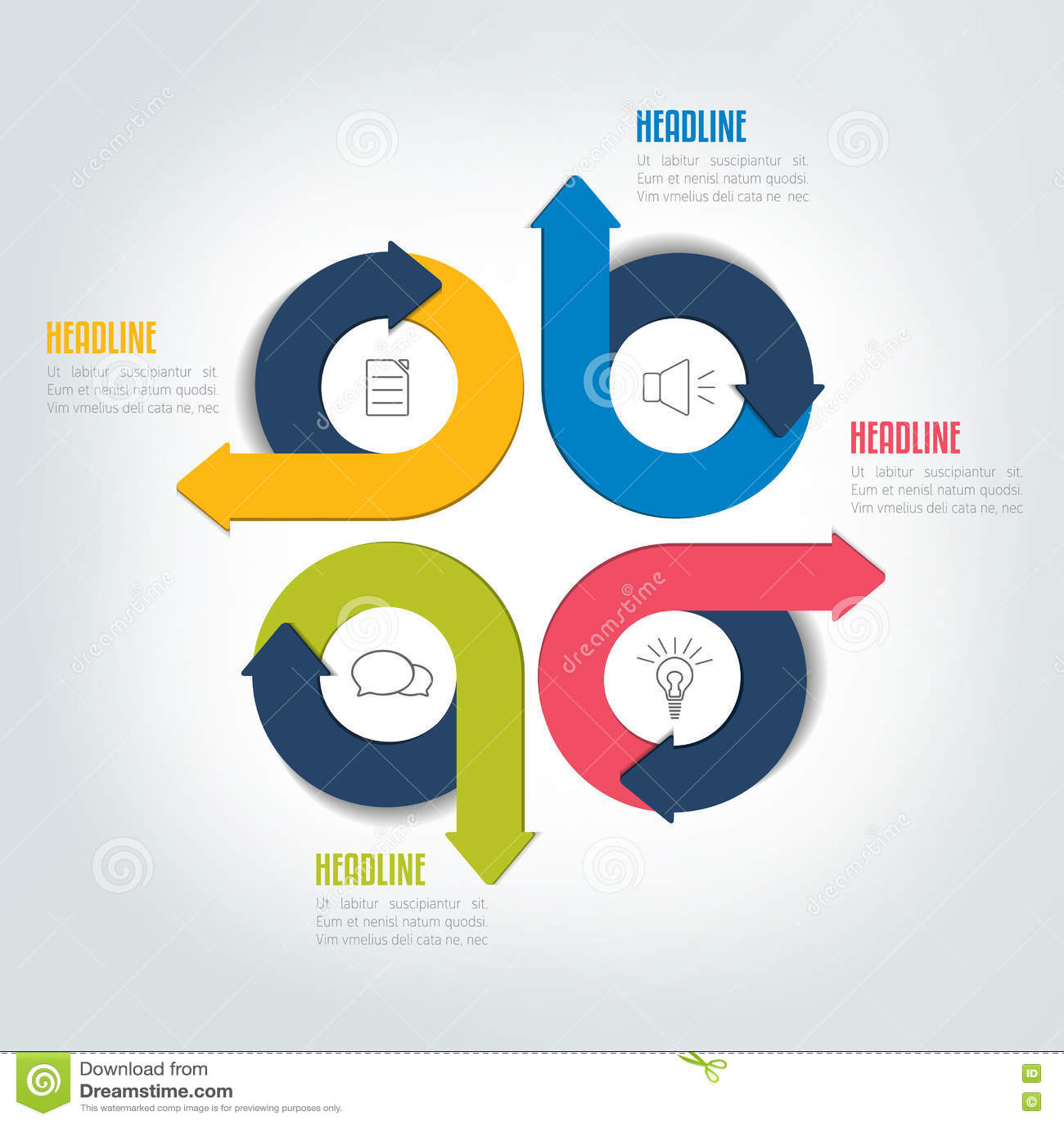 free circular arrow diagram template pioneer avic n2 wiring 2 four steps circle infographic scheme