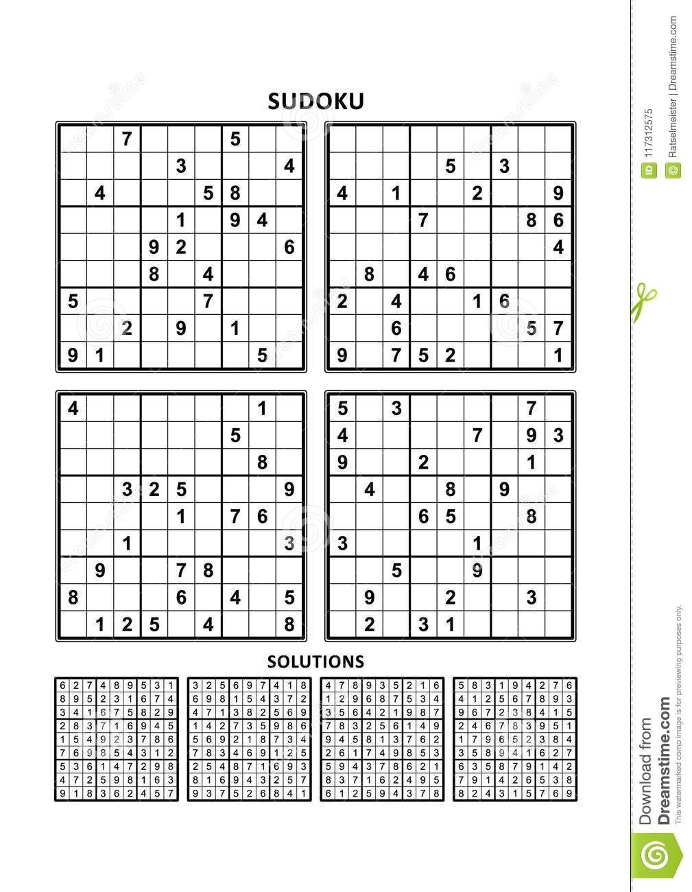 Four Sudoku Games With Answers. Set 11. Stock Vector