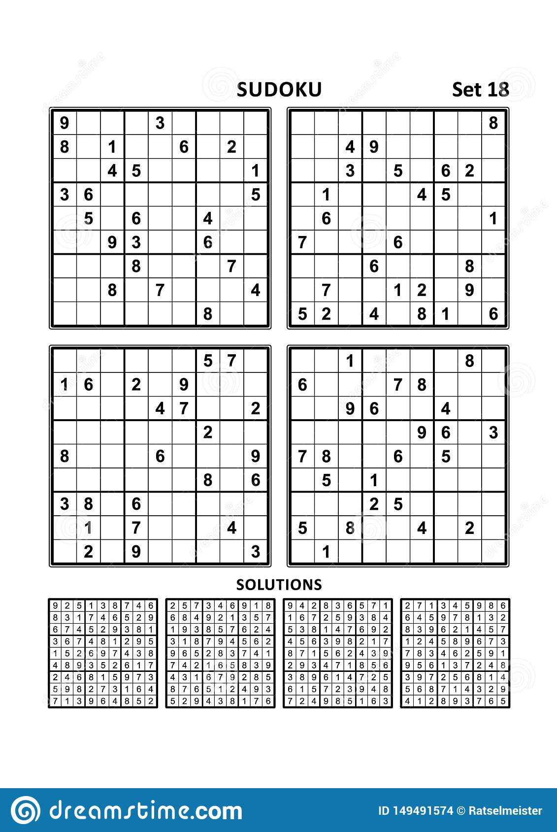 Four Sudoku Games With Answers Set 18 Stock Vector