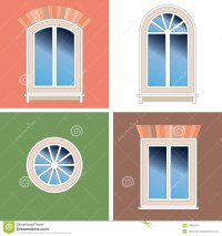 Four Windows Over Stucco Background Stock Photos
