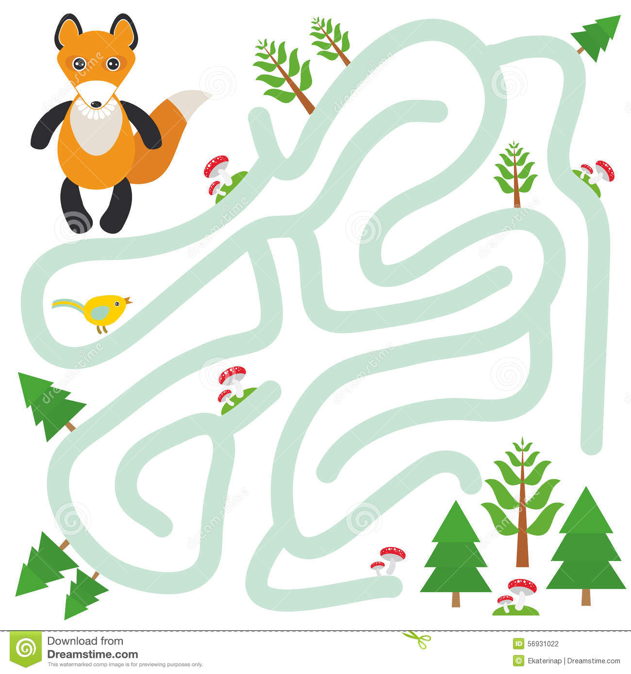 Fox And The Forest On White Background Labyrinth Game For