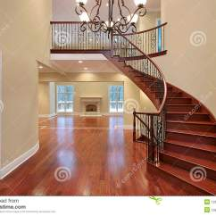 Cherry Furniture Living Room Interior Designs Ideas For Rooms Foyer With Balcony And Curved Staircase Royalty Free Stock ...