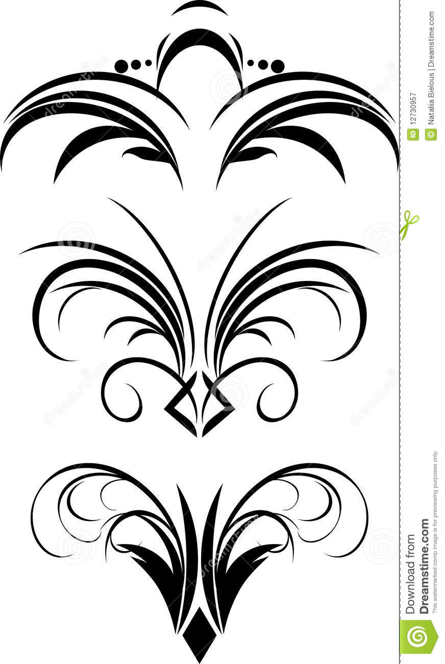 Fragment Of Gothic Ornament. Three Patterns Royalty Free