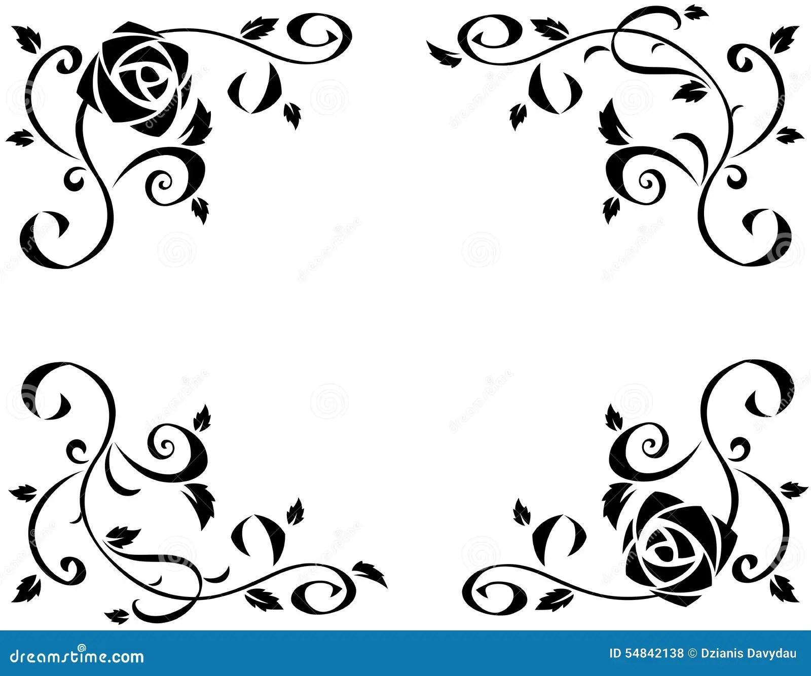 Elegant Black And White Floral Borders