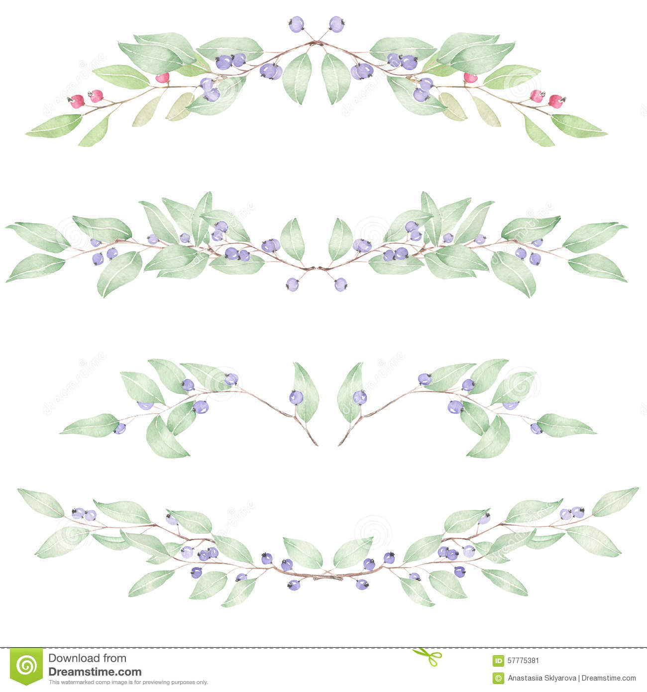 Frame Border Floral Decorative Ornament With Watercolor