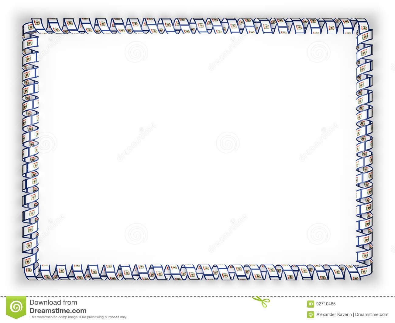 Frame And Border Of Ribbon With The State West Virginia