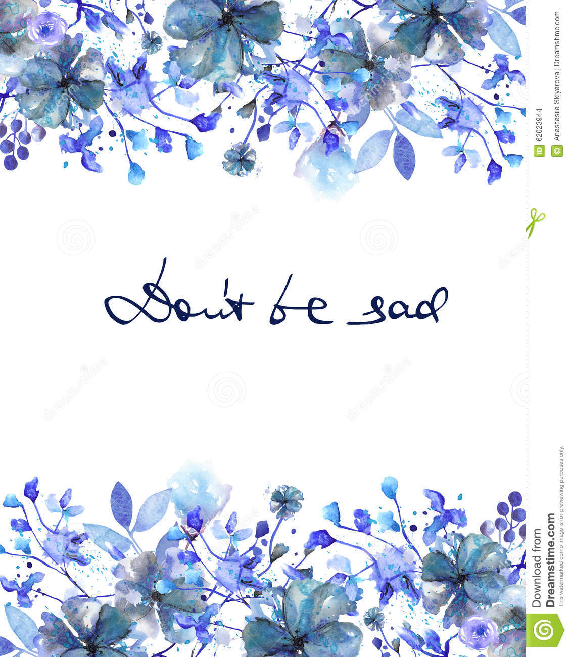 Frame Border Template For Postcard With Dark Blue Flowers
