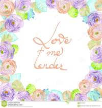 Frame Border, Wreath Of Purple And Pink Flowers, Blue And ...