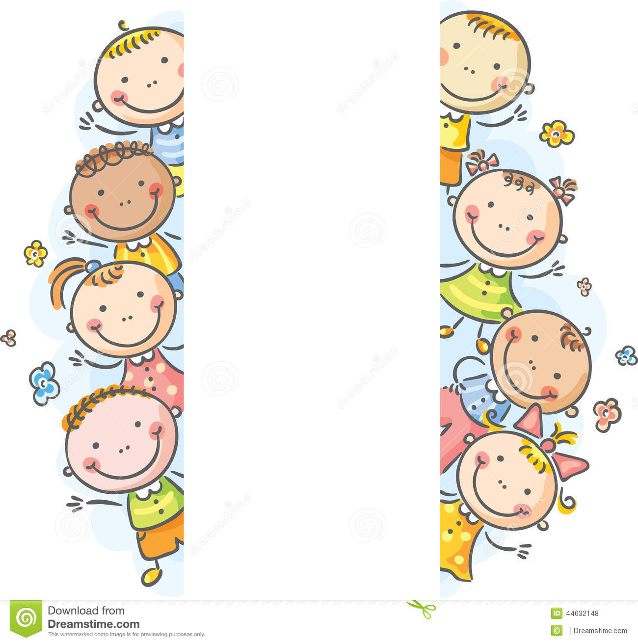 Frame Borders With Kids Peeping Out Stock Vector