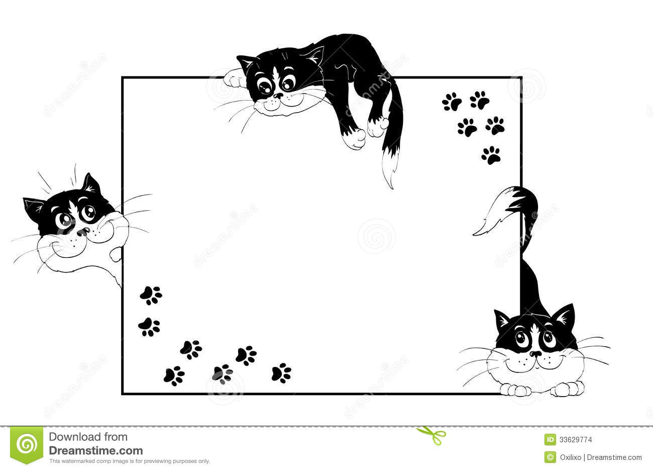 Frame With Cheerful Kittens Stock Vector