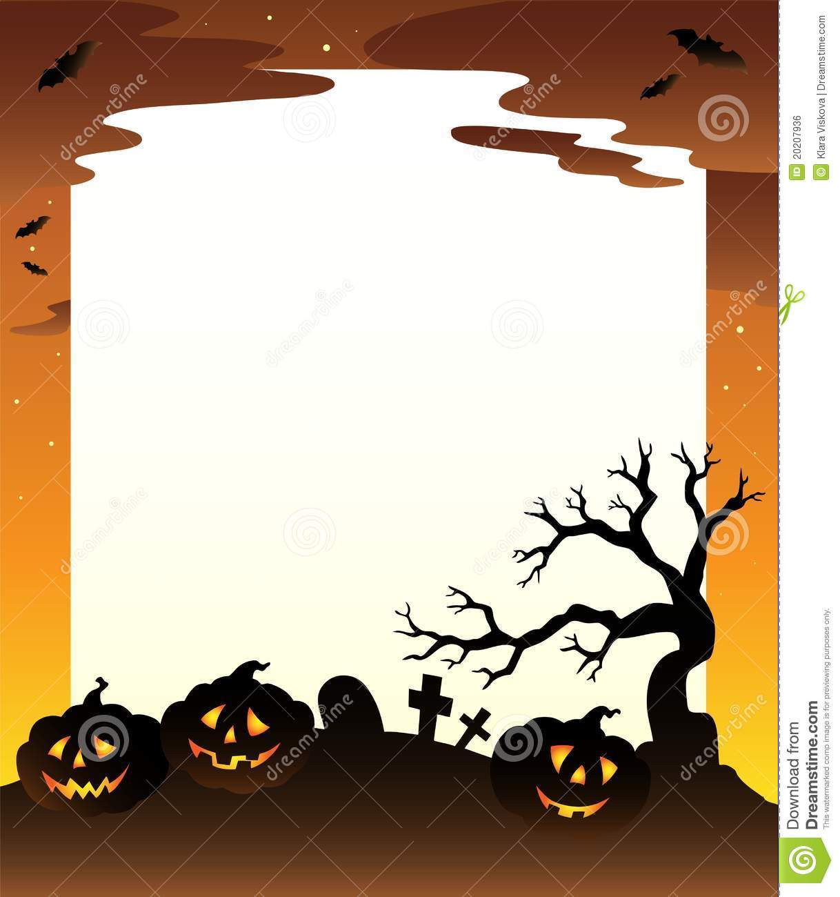 frame with halloween scenery