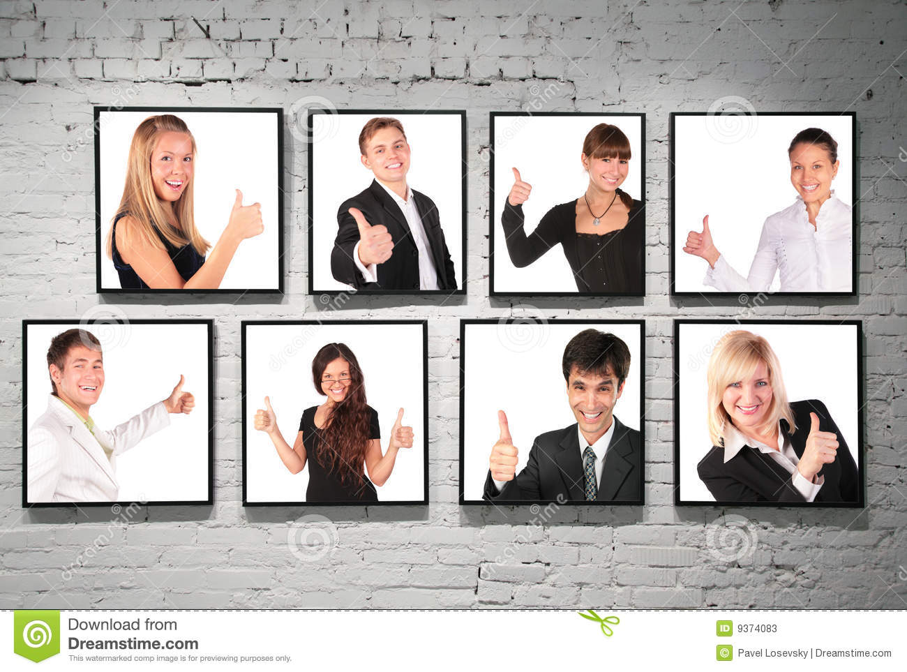 Frames With Ok Gesture People On White Brick Wall Stock