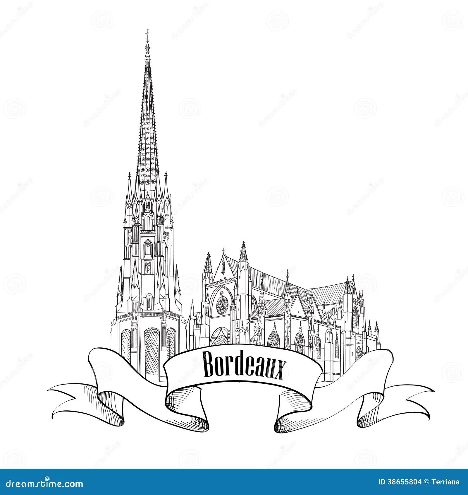 France City Icon Bordeaux Landmark Isolated Stock Images