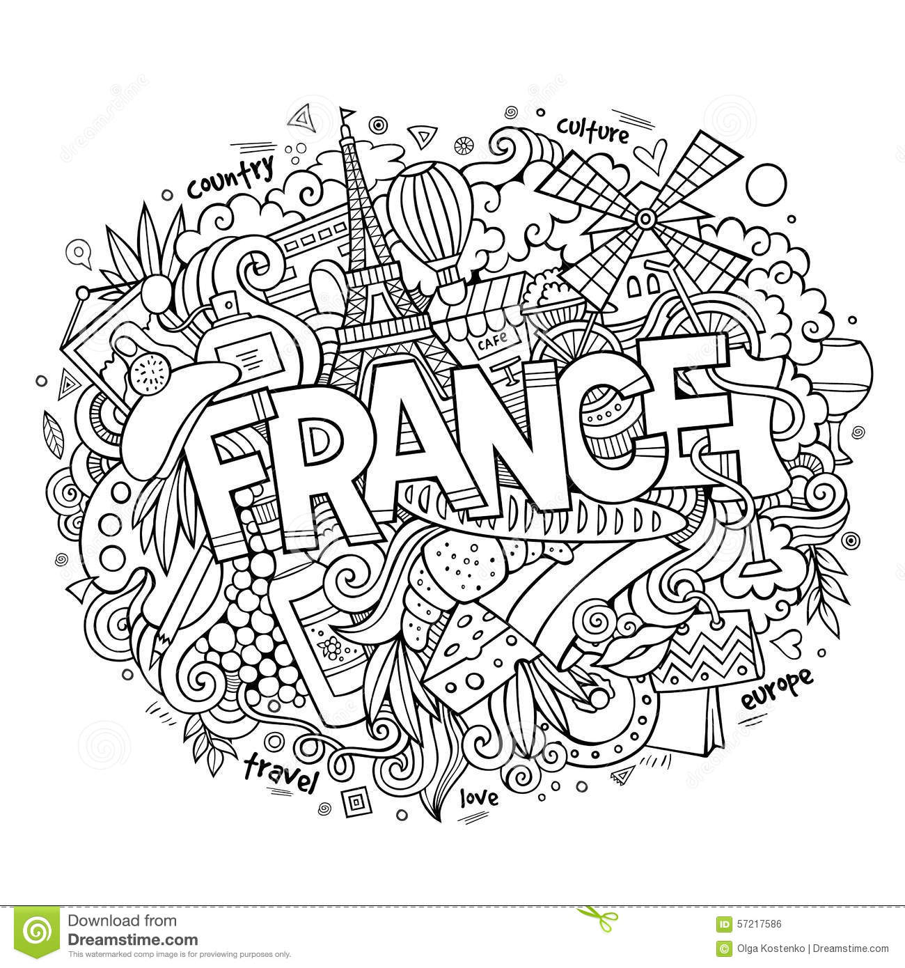 France Country Hand Lettering And Doodles Elements Stock