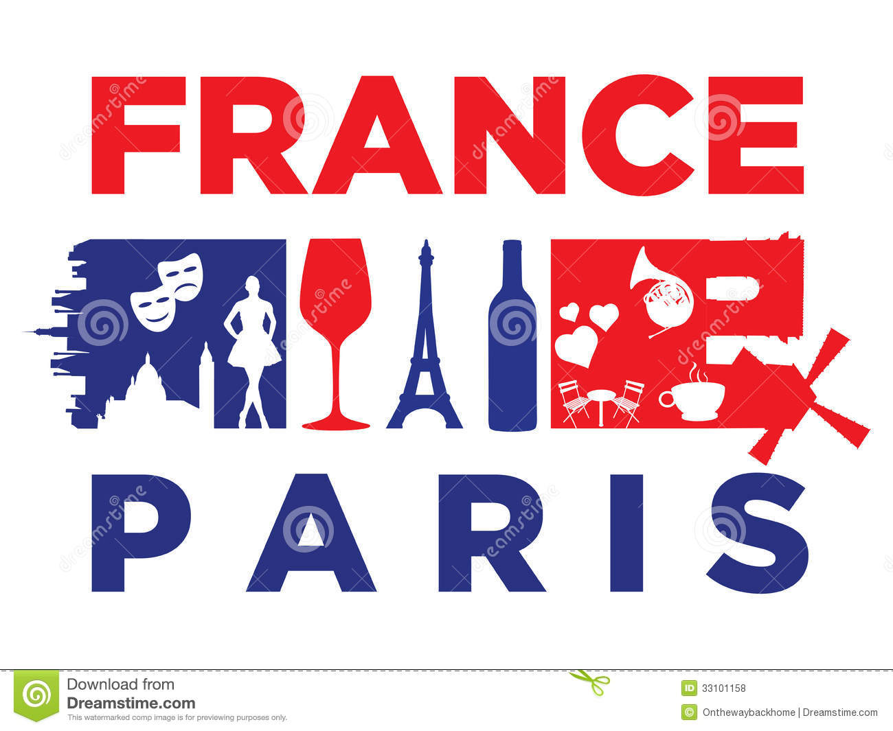 France Flag And Silhouette Landmarks Royalty Free Stock