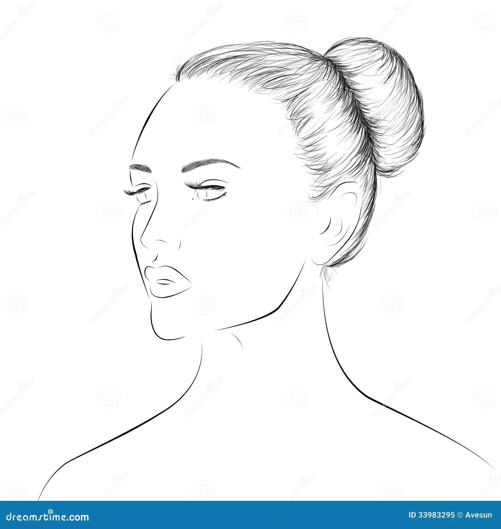 Frauengesicht Lineart Skizze Stock Abbildung