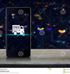 free delivery truck icon on modern smart phone screen on wooden table in front of blurred light city tower transportation business concept [ 1300 x 1061 Pixel ]