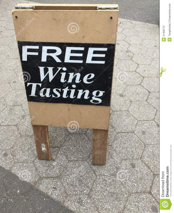 Free Wine Tasting Sign Stock Of