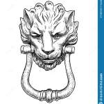 Freehand Drawing Of Ancient Door Handle In Shape Of Lion Head Stock Vector Illustration Of Phorm Face 190813051