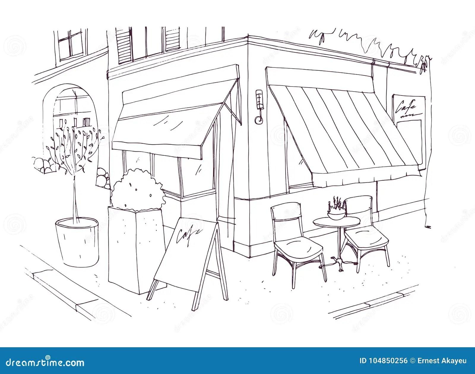 Freehand Drawing Of European Sidewalk Cafe Or Restaurant
