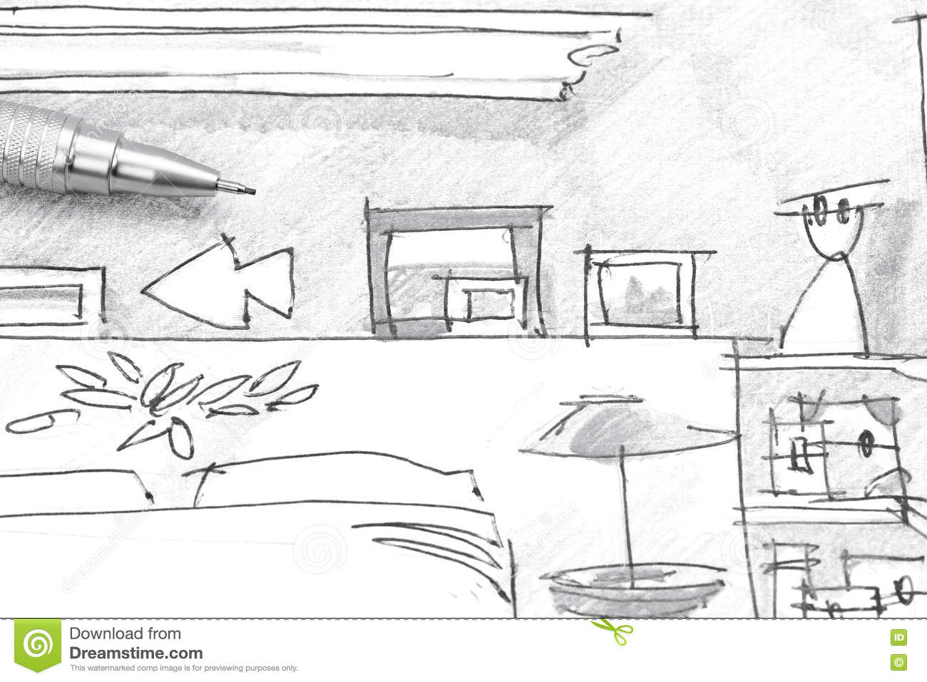 Freehand Drawing Interior Of Bedroom Furniture With Pencil