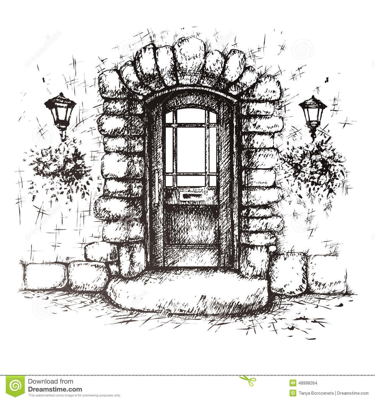 Freehand Drawing Of Old Front Door Stock Vector