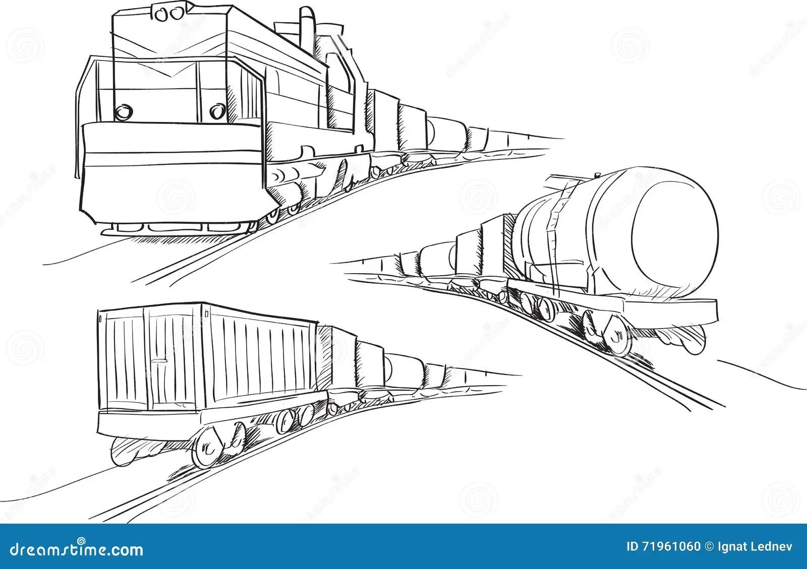 Freight Train Vector Illustration