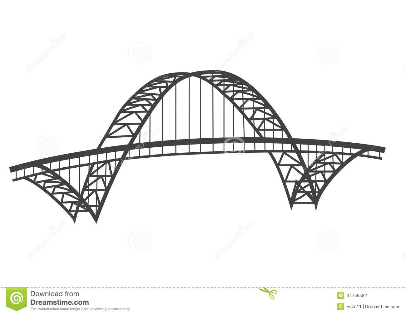 Fremont Bridge Drawing Stock Illustration