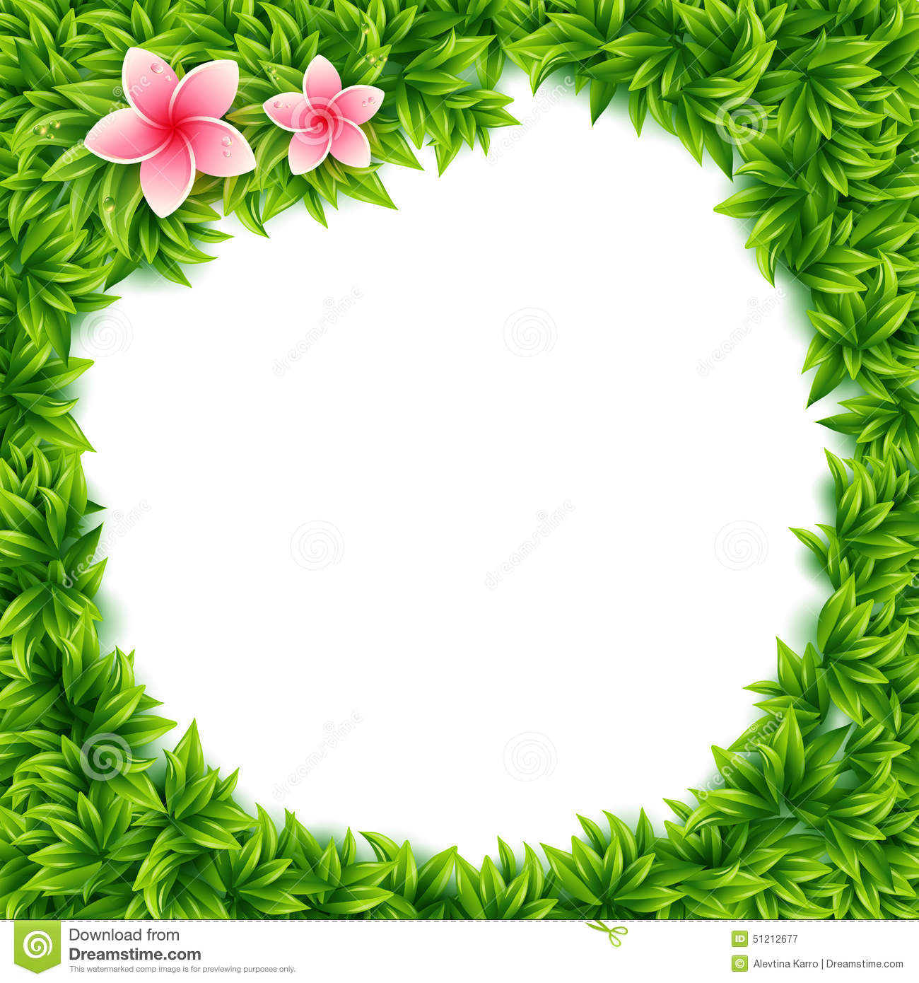 Fresh Green Leaves And Tropical Flowers Frame Stock Vector