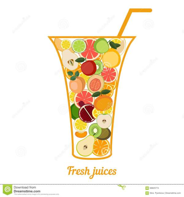 Fresh Juice Cocktail Illustration Concept. Stock Vector - 69625774