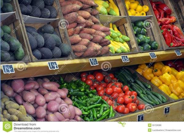 Fresh Vegetables Display In Farmers Market Stock