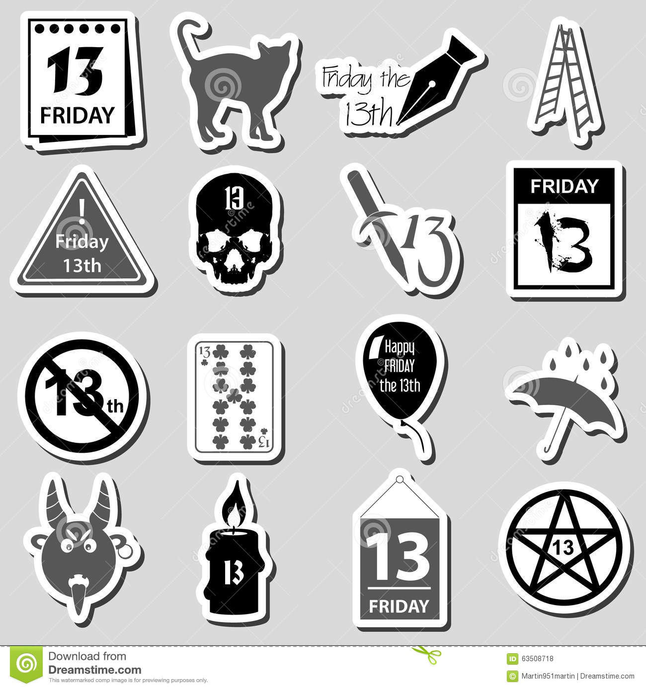 Friday The 13 Bad Luck Day Stickers Set Eps10 Stock Vector