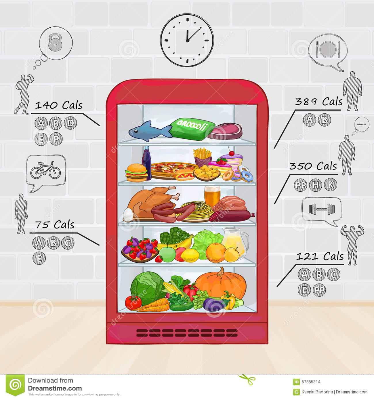 Fridge With Food The Set Of Products Vitamins Calories