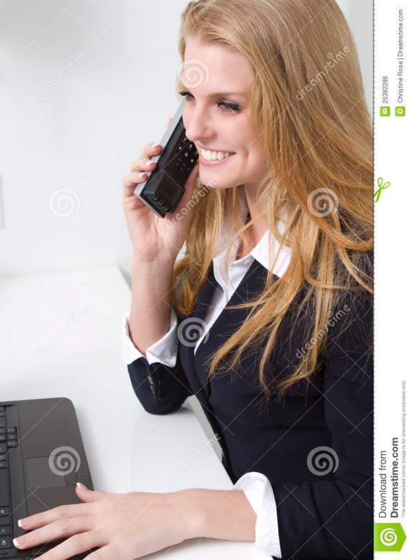 Friendly Customer Service Person Phone Stock